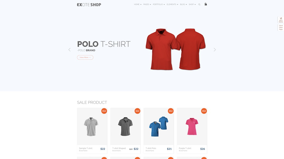 excite ecommerce website template