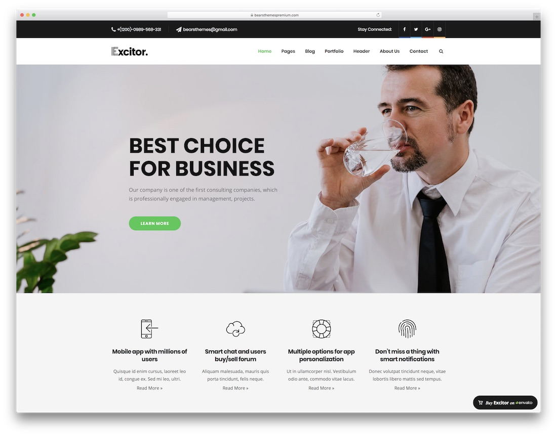 excitor wordpress business theme