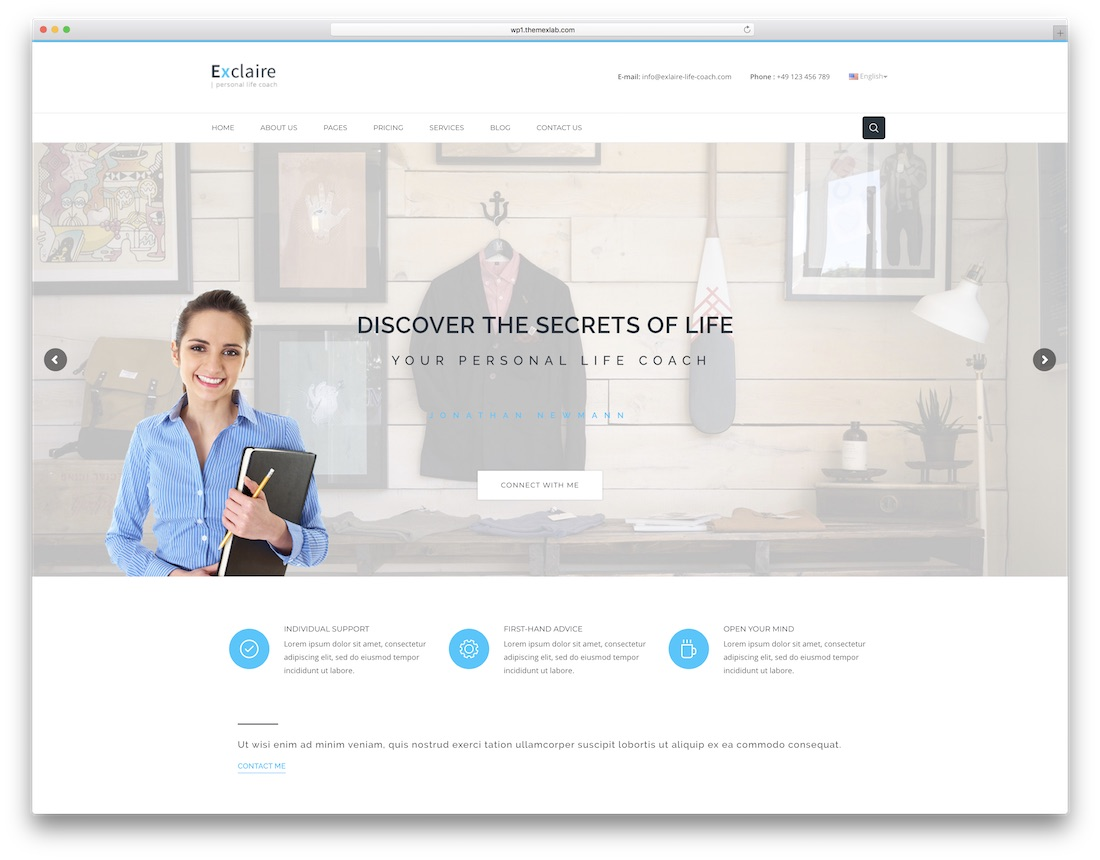 exclaire physiotherapy chiropractor wordpress theme