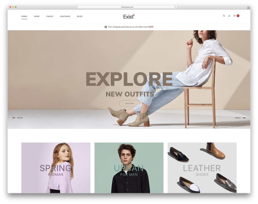 exist ecommerce website template
