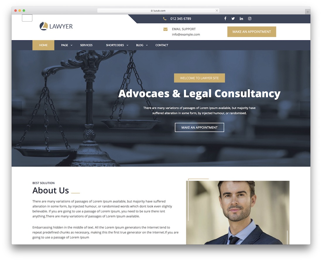 expert lawyer free wordpress theme