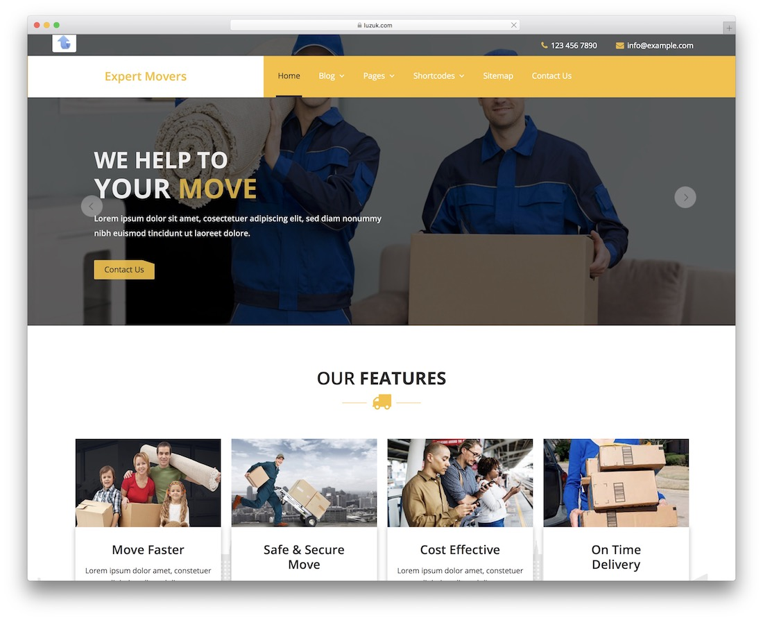expert movers free bootstrap wordpress theme