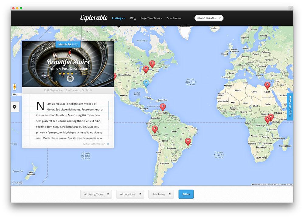 explorable full screen global directory