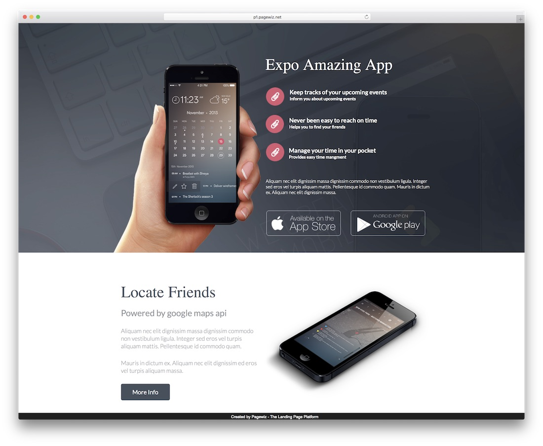 expo pagewiz landing page template