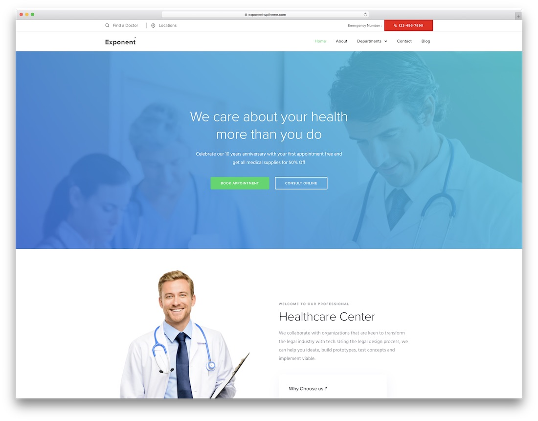 exponent health medical wordpress theme