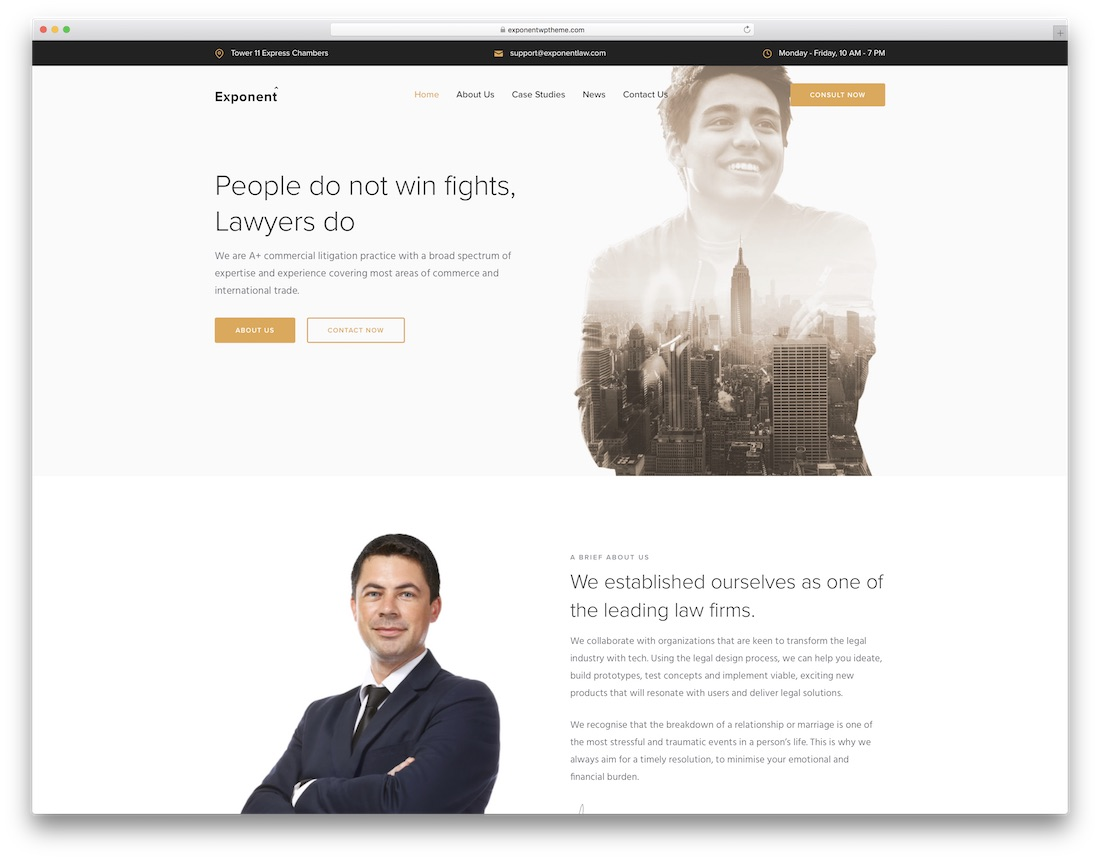exponent lawyer wordpress theme
