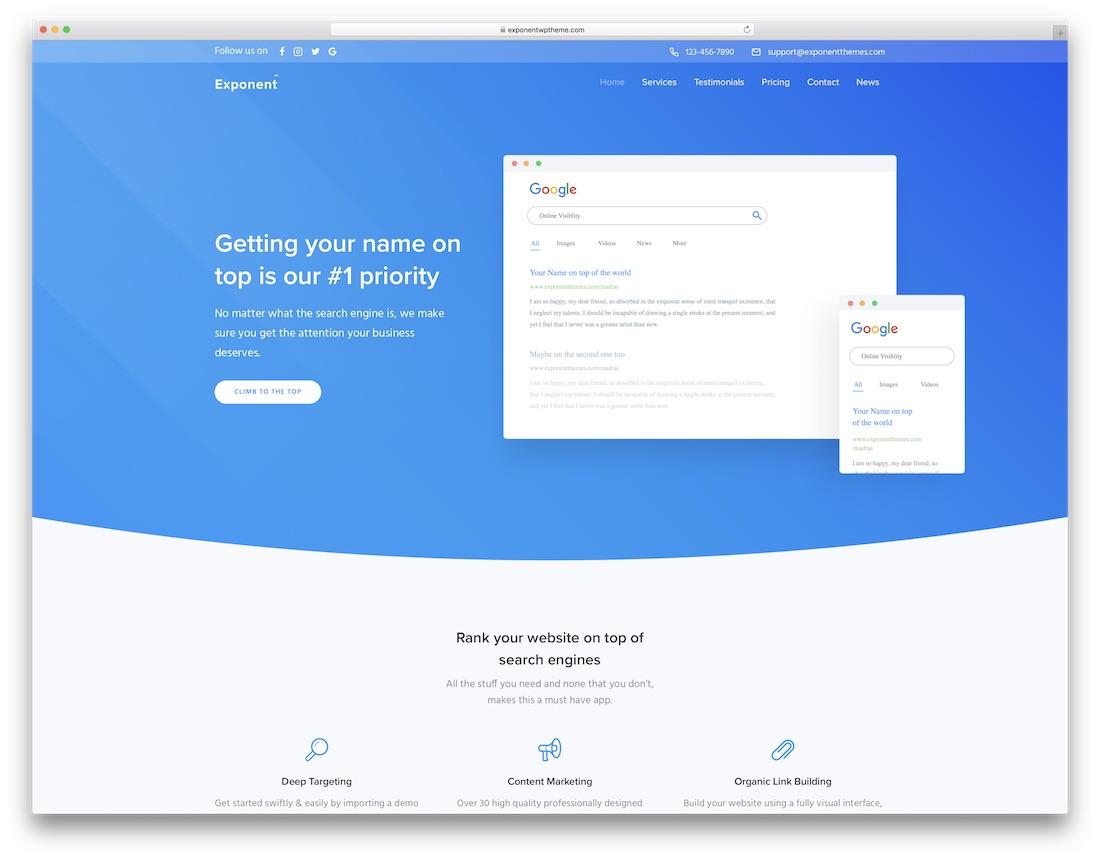 exponent seo startup wordpress theme