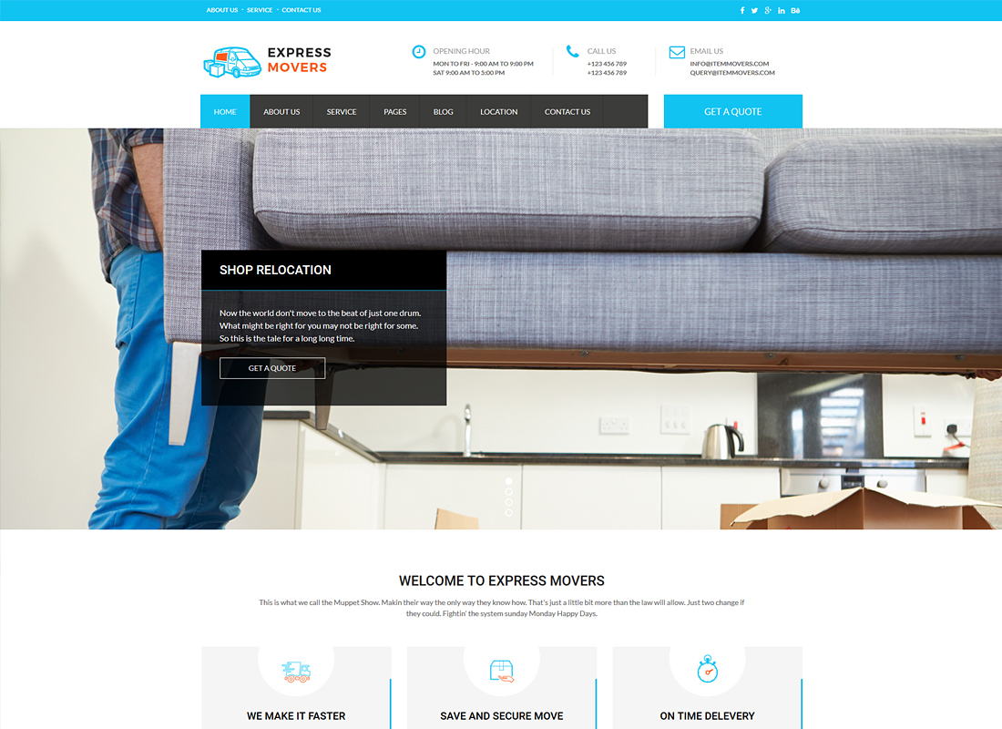 Express Movers | Moving Company WordPress Theme