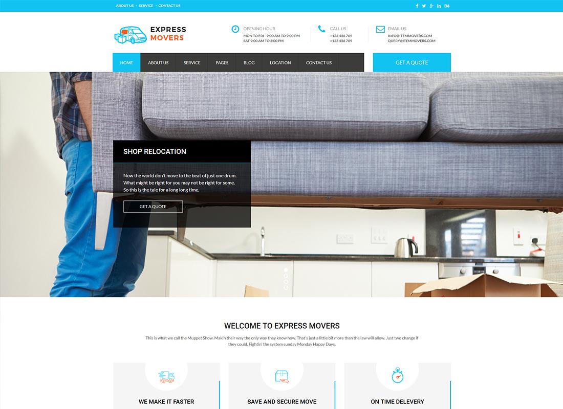 Express Movers | Moving Company WordPress Theme