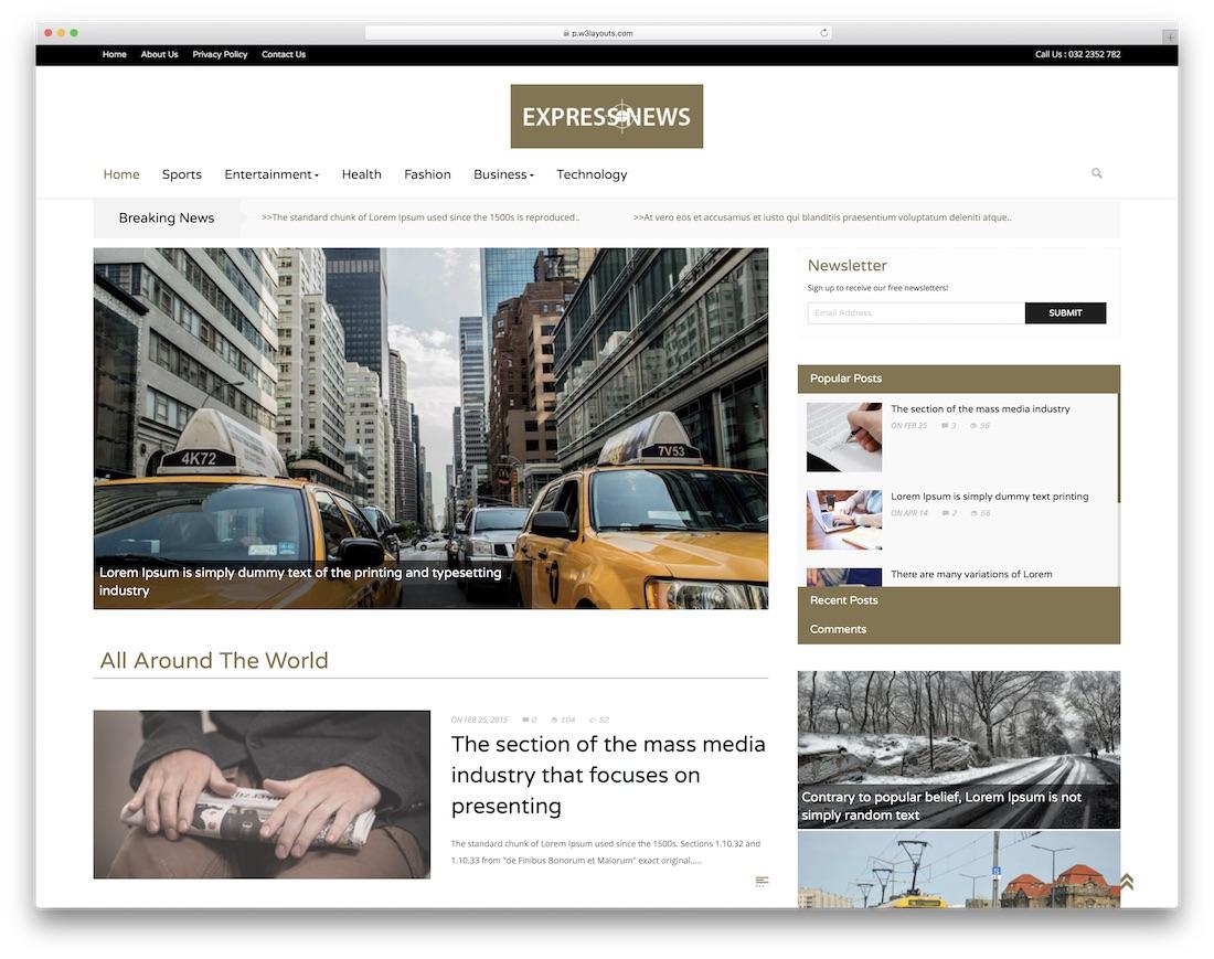 express free news website template