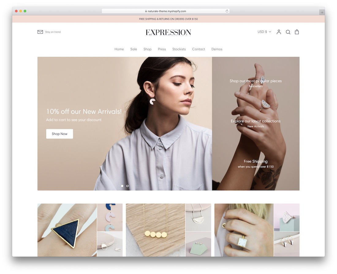 expression shopify jewelry theme