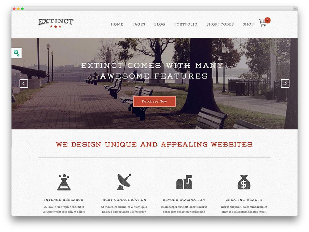 extinct WordPress portfolio