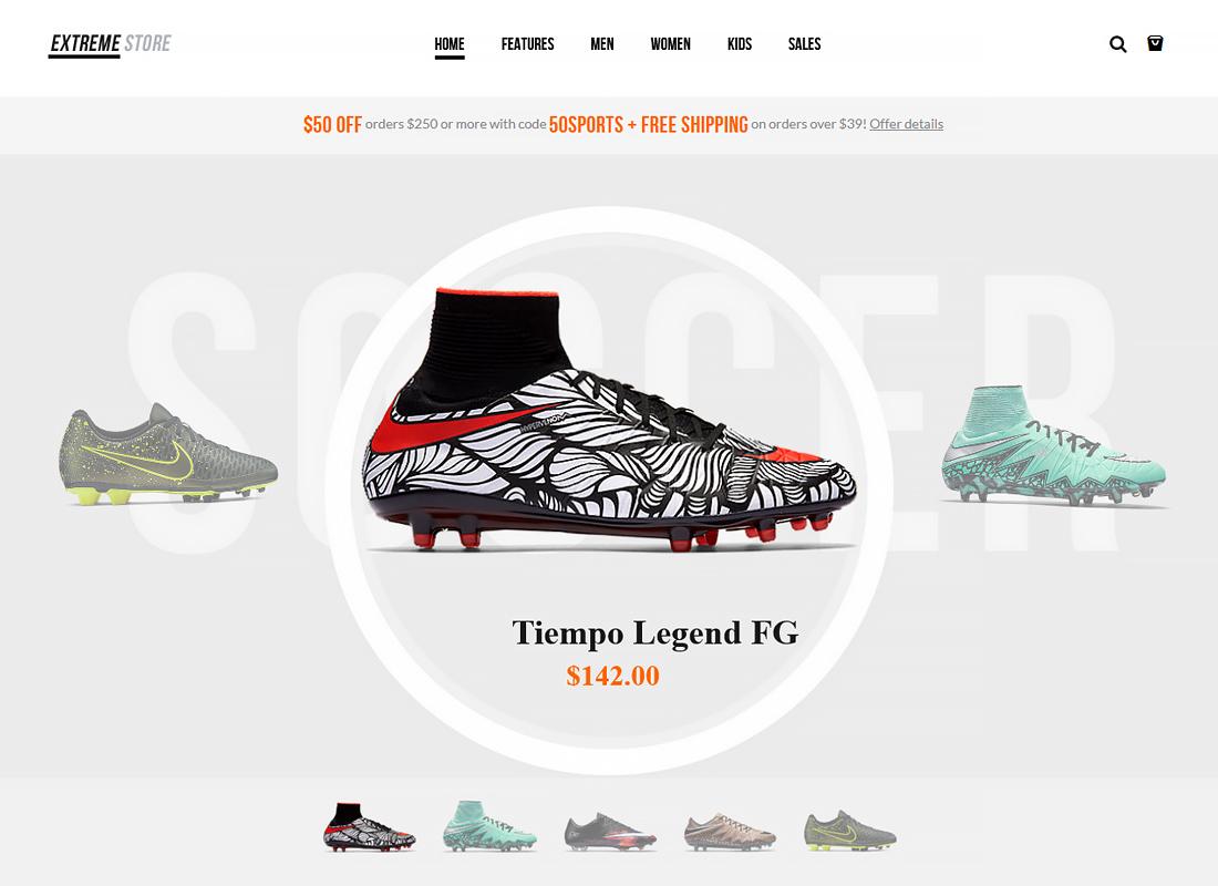 Extreme - Sports Clothing & Equipment Store WordPress Theme