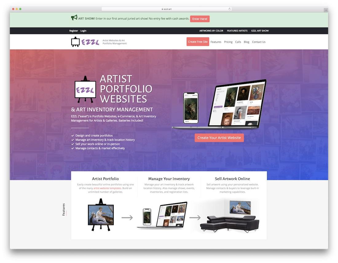 ezzl best website builder for artists