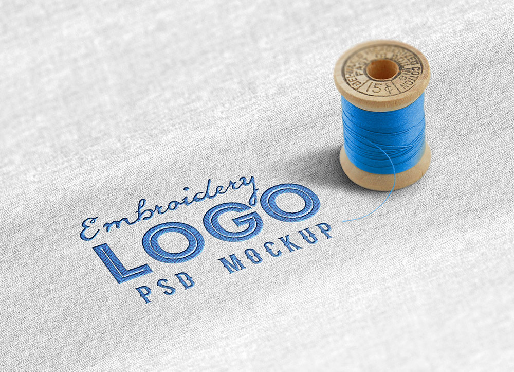 fabric embroidered logo mockup template