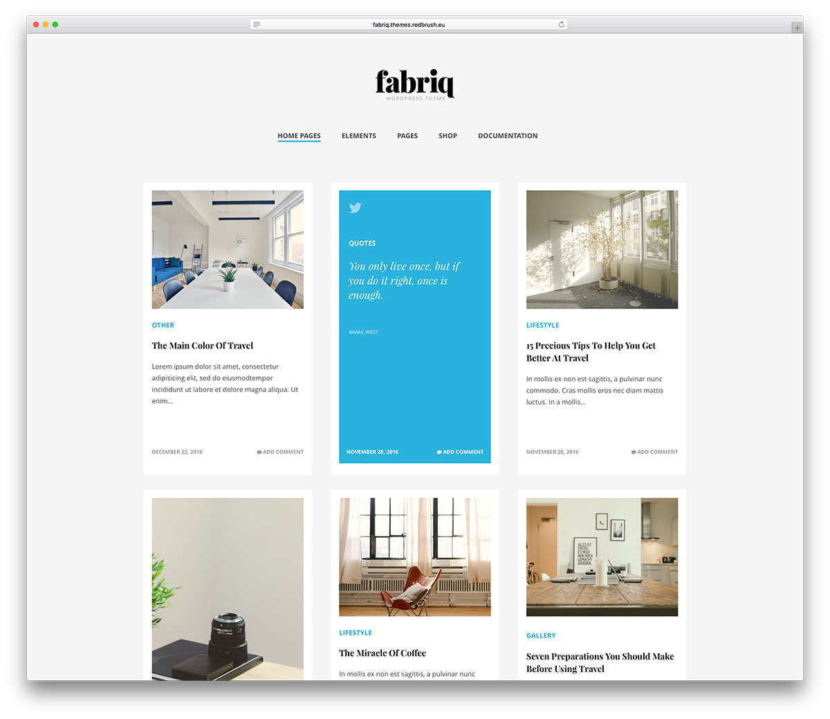 fabriq is a blog dedicated wordpress theme it has a creative orientation to express oneself in any wished way fabriq can also work for blogs meant for - Blogs On Design