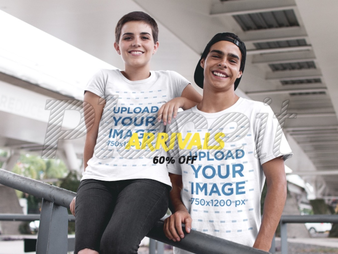 facebook ad teenagers wearing two round neck t-shirts mockup