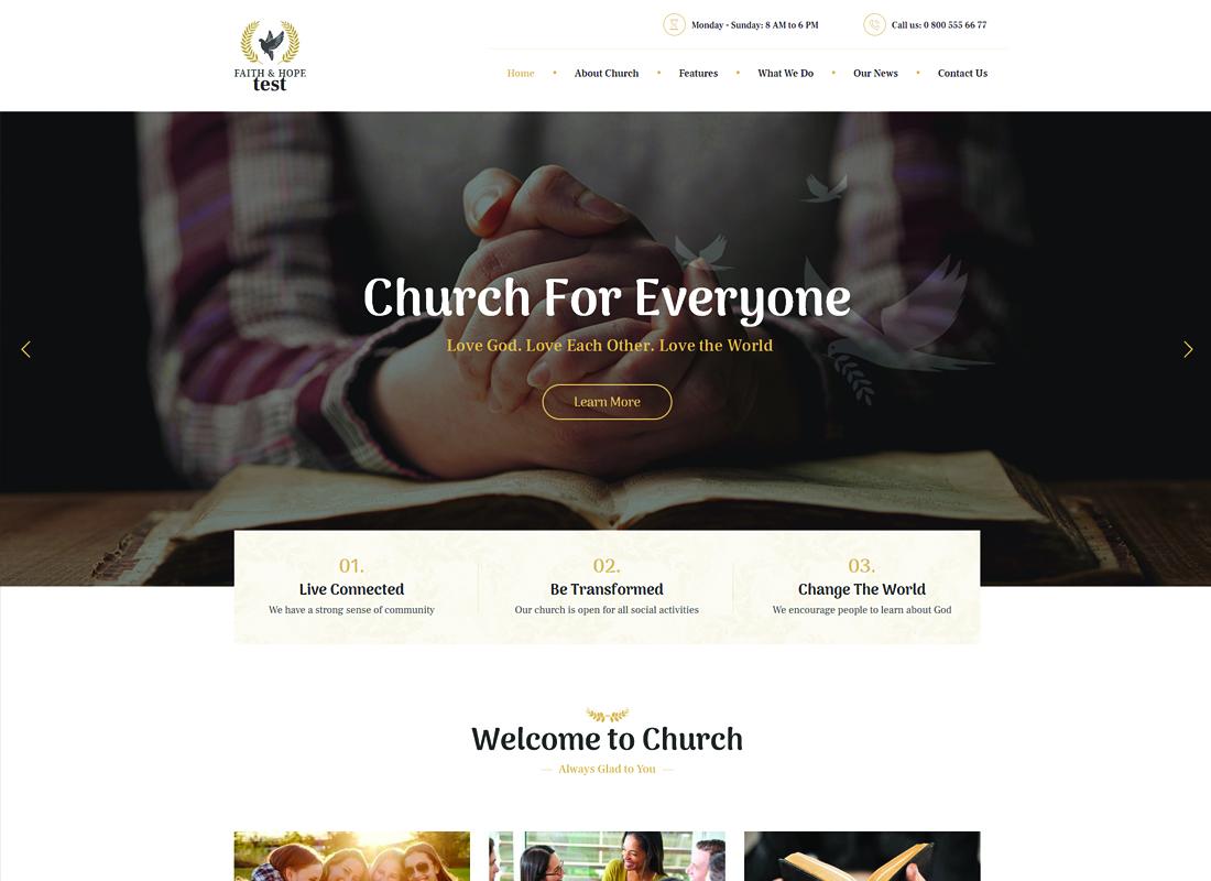 Faith & Hope - A Modern Church & Religion WordPress Theme