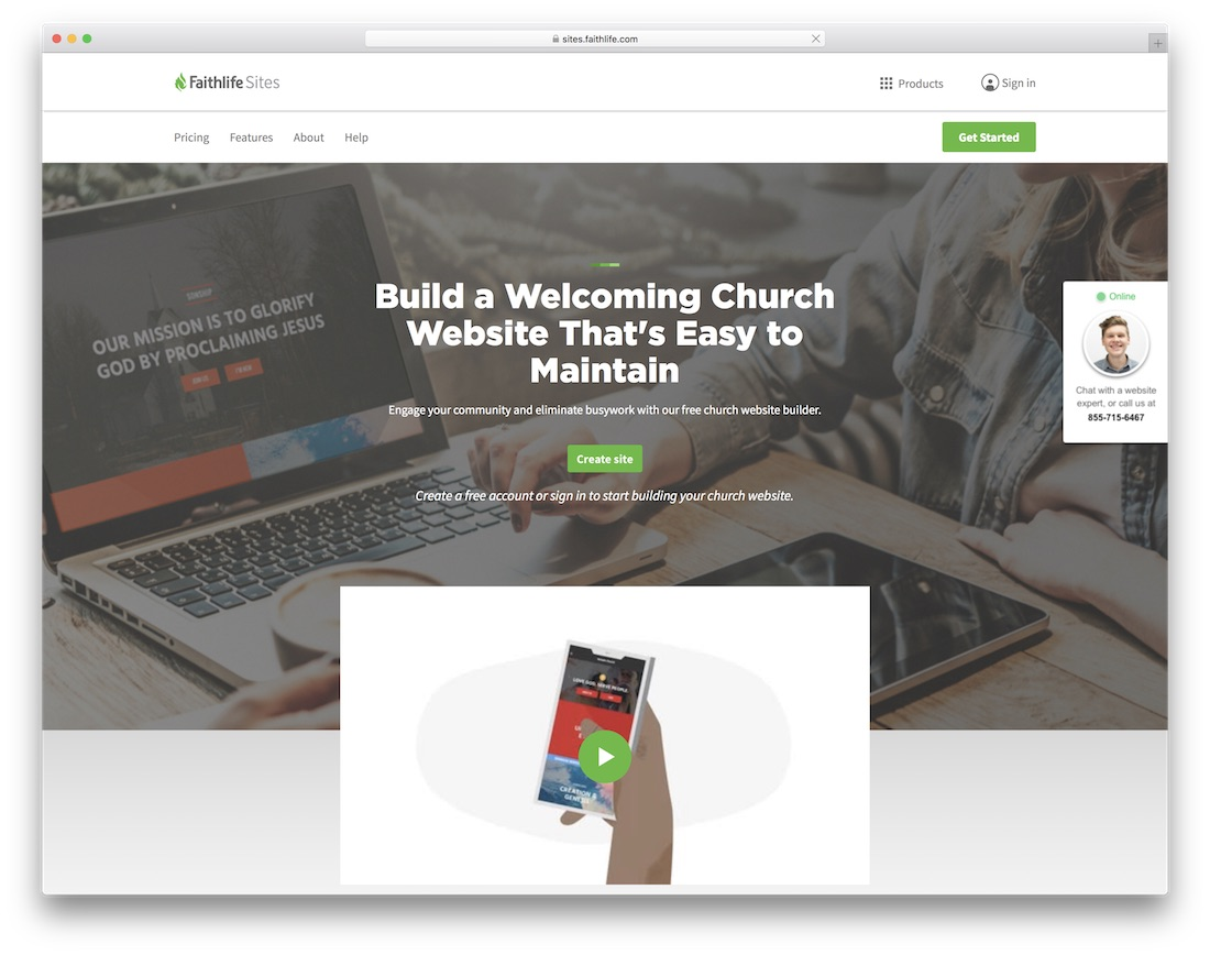 faithlife church website builder
