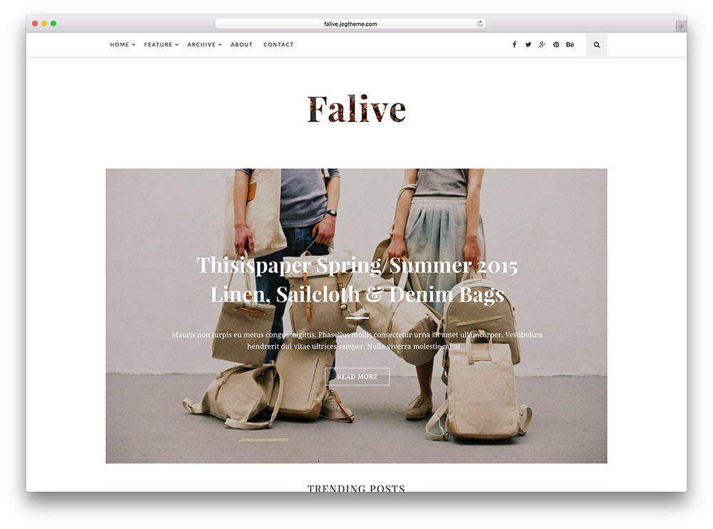 falive - minimal fashion magazine theme