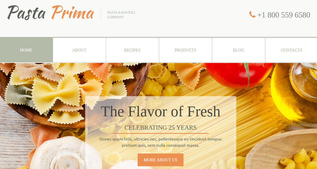 20 best food website templates that satisfies all food lovers family pasta is a clean looking food website template it follows a mild color theme and clean layout design it is a multi page website template with all pronofoot35fo Gallery