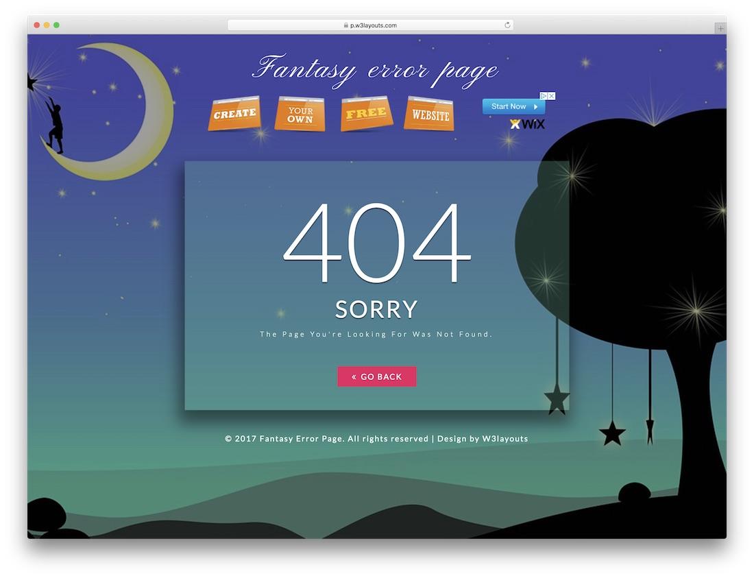 fantasy free 404 error page template