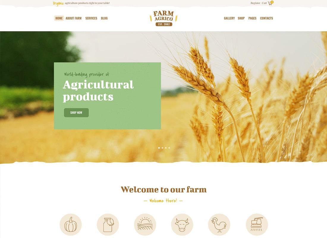 농장 Agrico | 농업 사업 WordPress의 테마