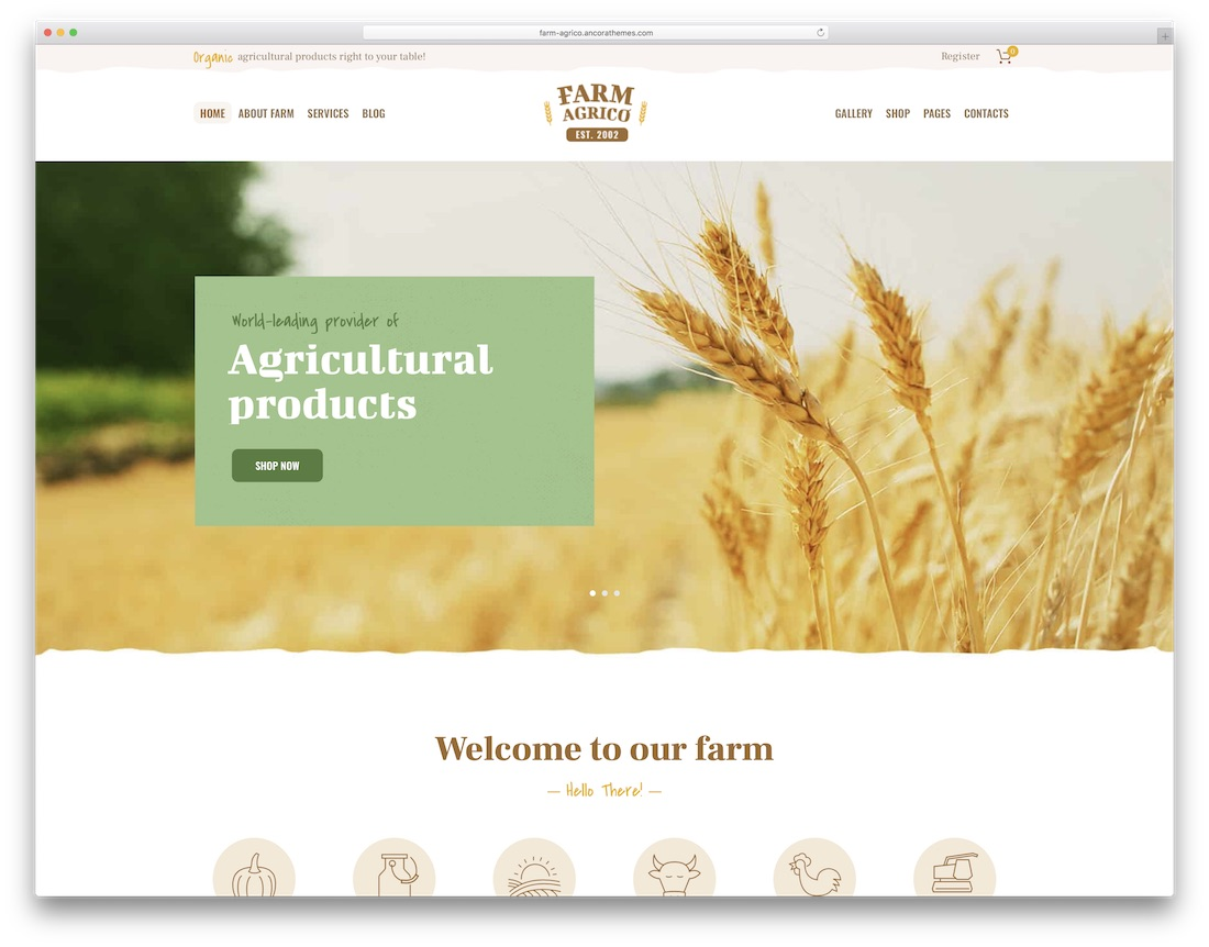 farm agrico farming wordpress theme