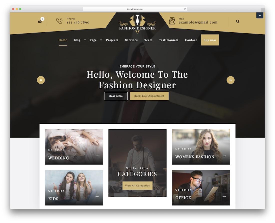 fashion designer free wordpress theme