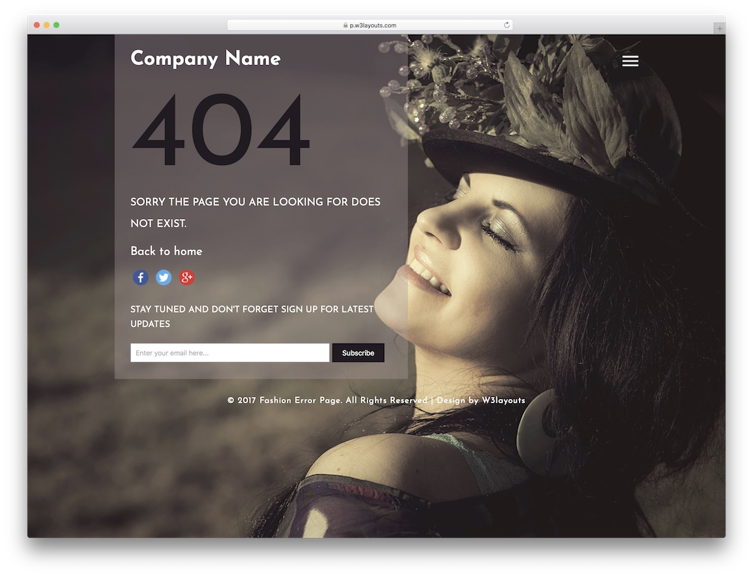 fashion free 404 error page template