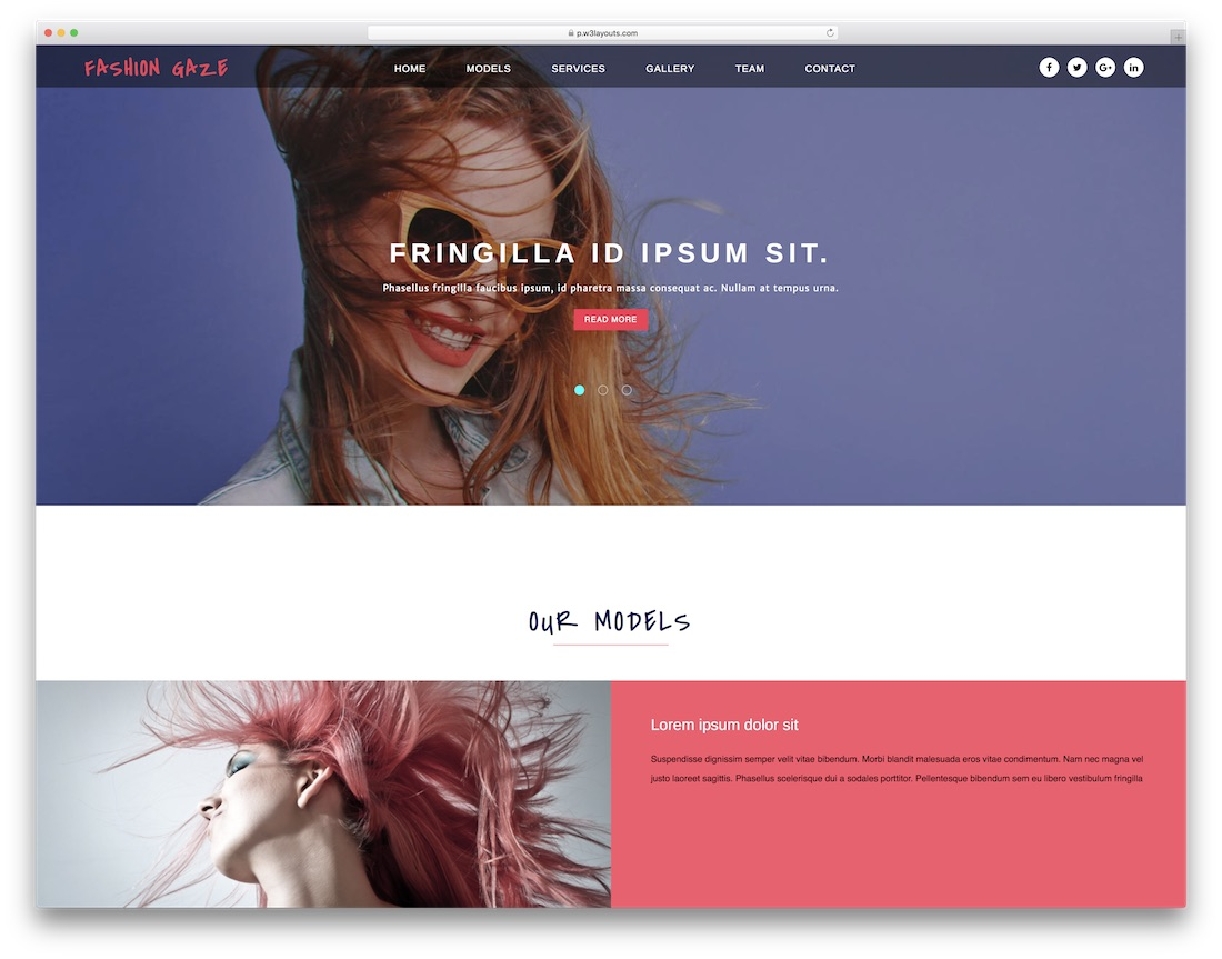 fashion gaze free fashion website template