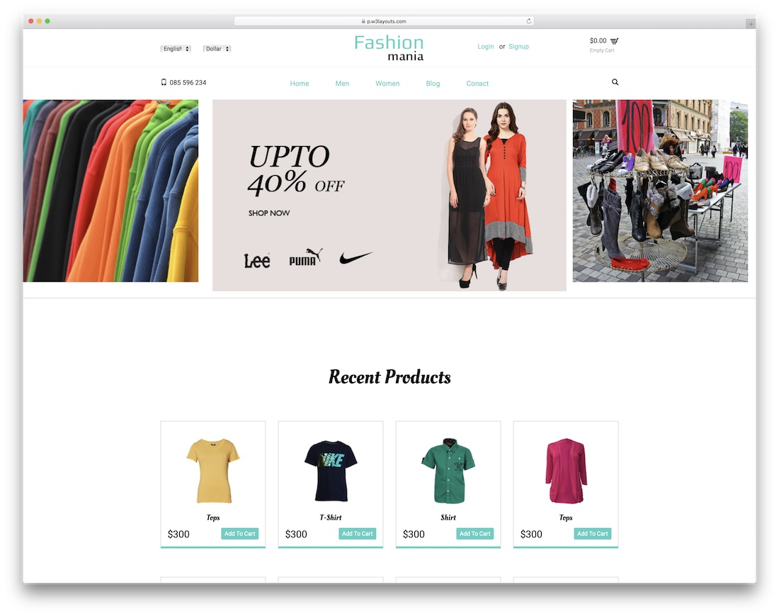 fashion mania free bootstrap ecommerce website template