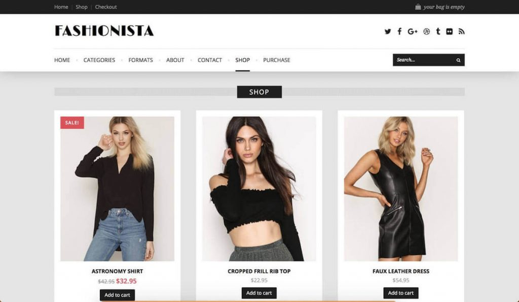 b9ebfbb5900 Fashionista is a one-of-a-kind fashion ecommerce theme that s fully  compatible with WooCommerce. What makes it unique is its ability to stand  out with its ...