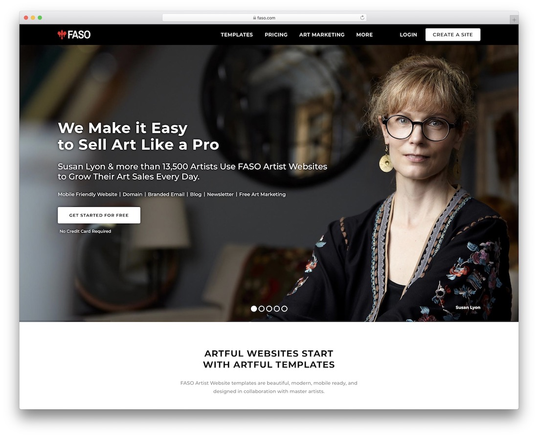 faso website builder for artists