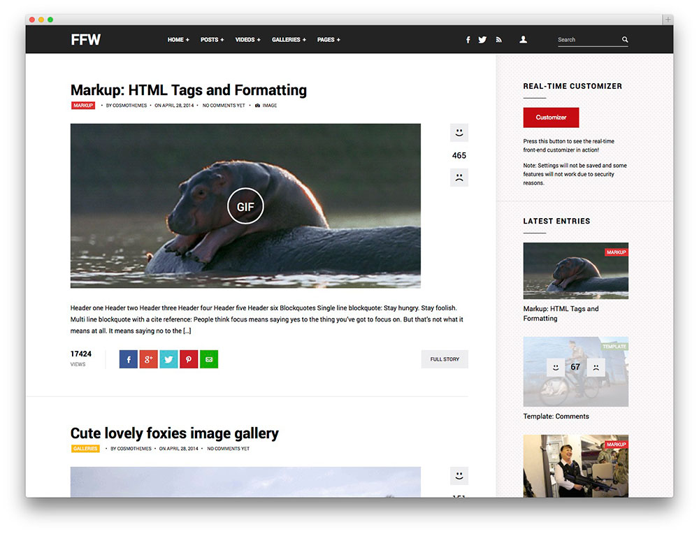 Fast Forward WordPress theme