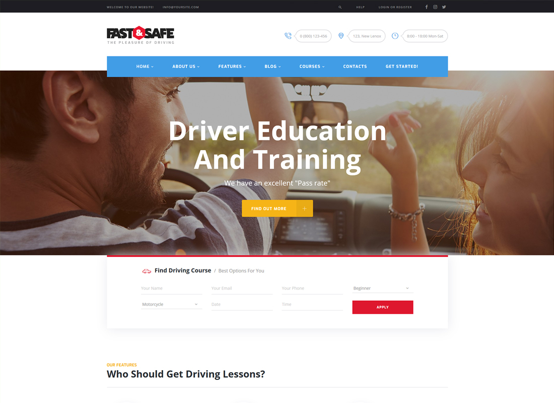 Fast & Safe - Driving School WordPress Theme