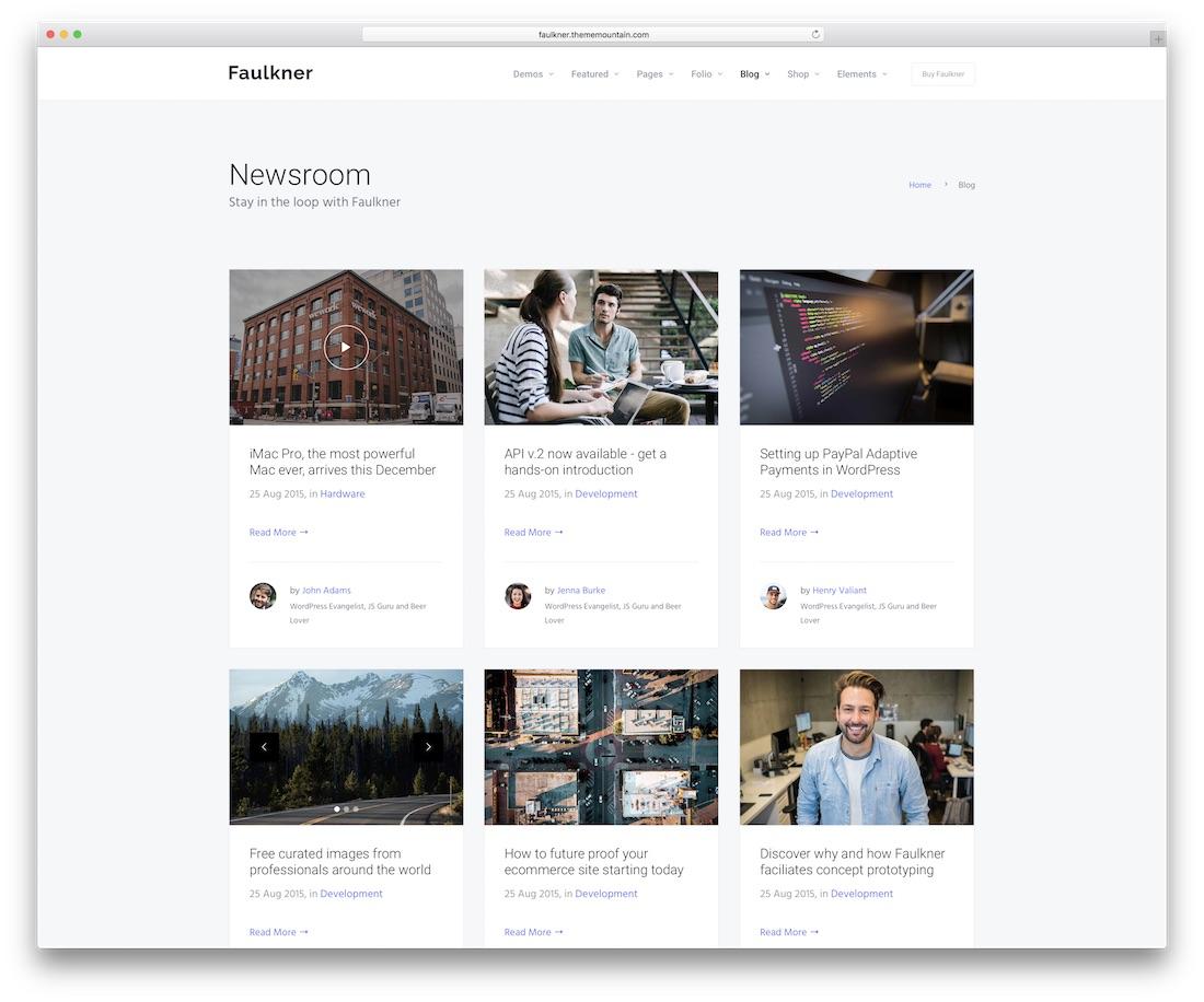 faulkner blog website template