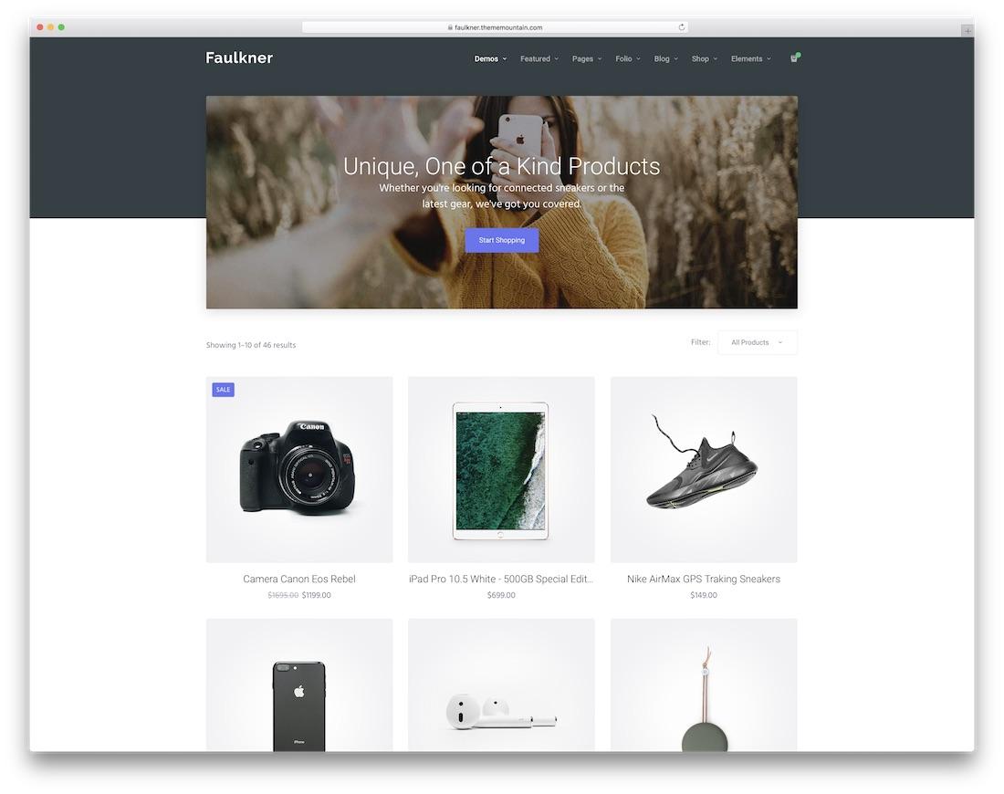 faulkner ecommerce website template