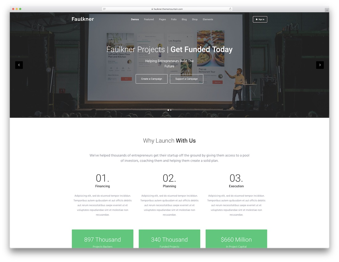 faulkner multipurpose website template