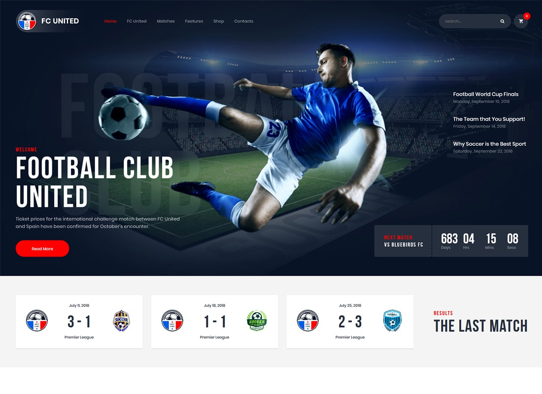 FC United | Football, Soccer, Sports WordPress Theme