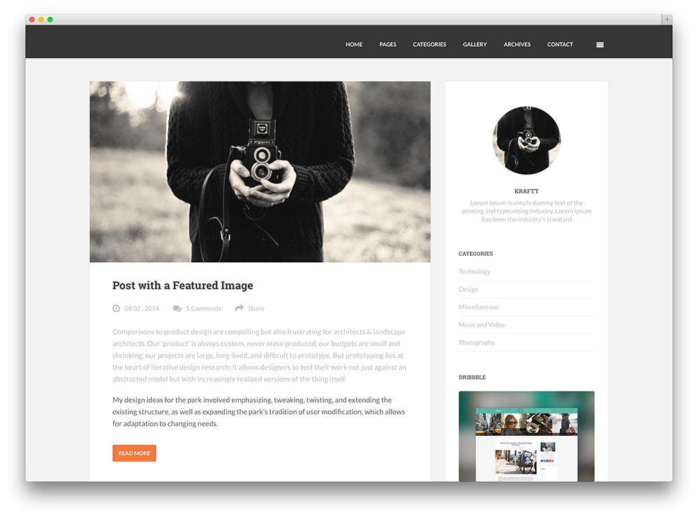 30 best personal blog wordpress themes 2016 colorlib for Wordpress design