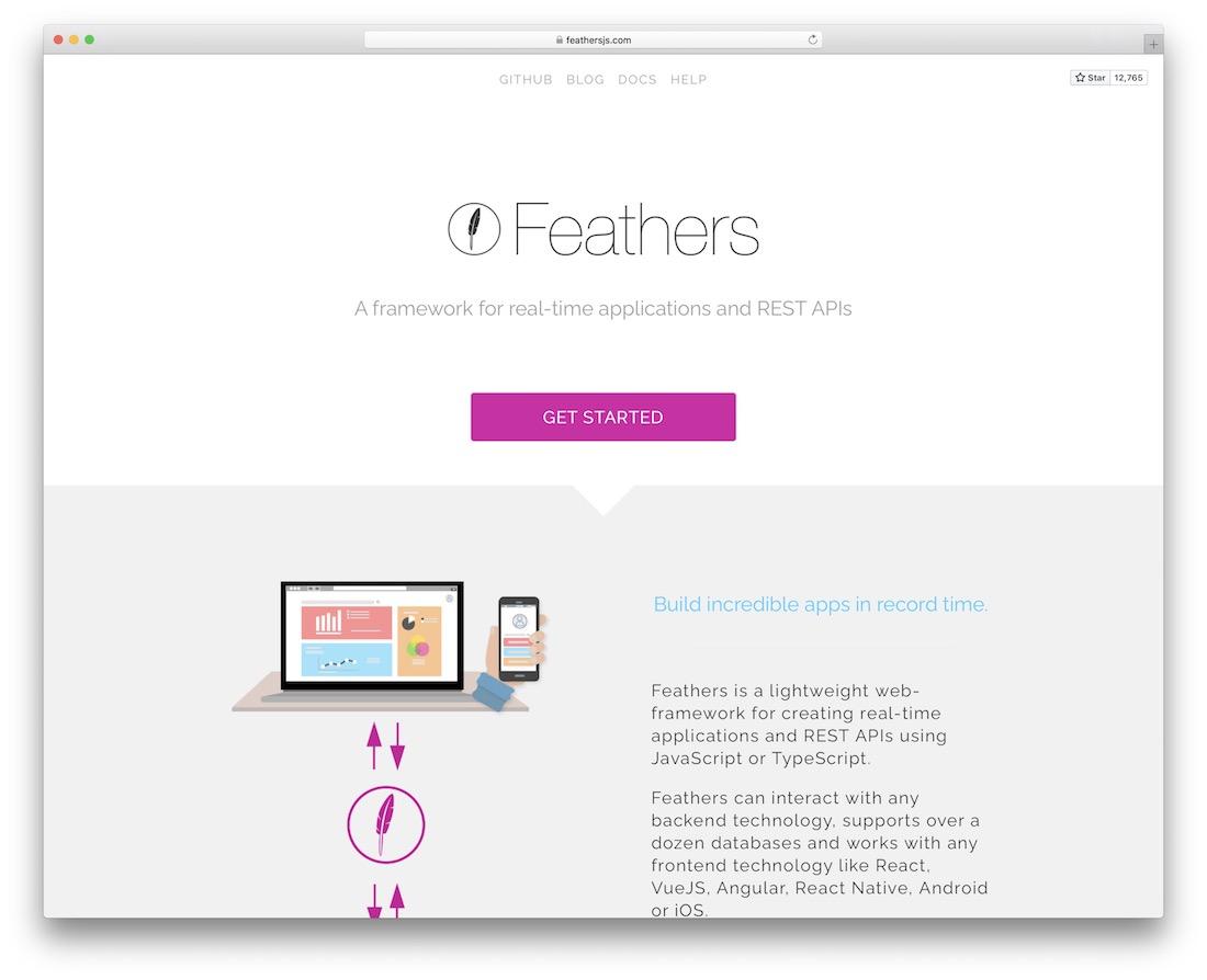 feathersjs node js framework