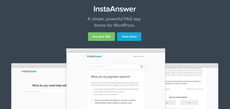InstaAnswer Review – A Minimal WordPress FAQ Theme By HeroThemes