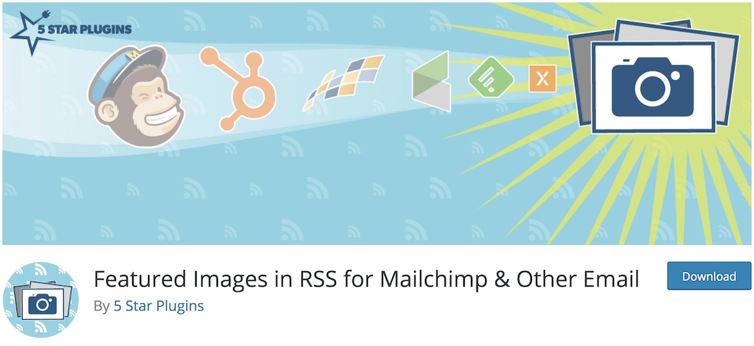 featured images for rss feeds free wordpress mailchimp plugin