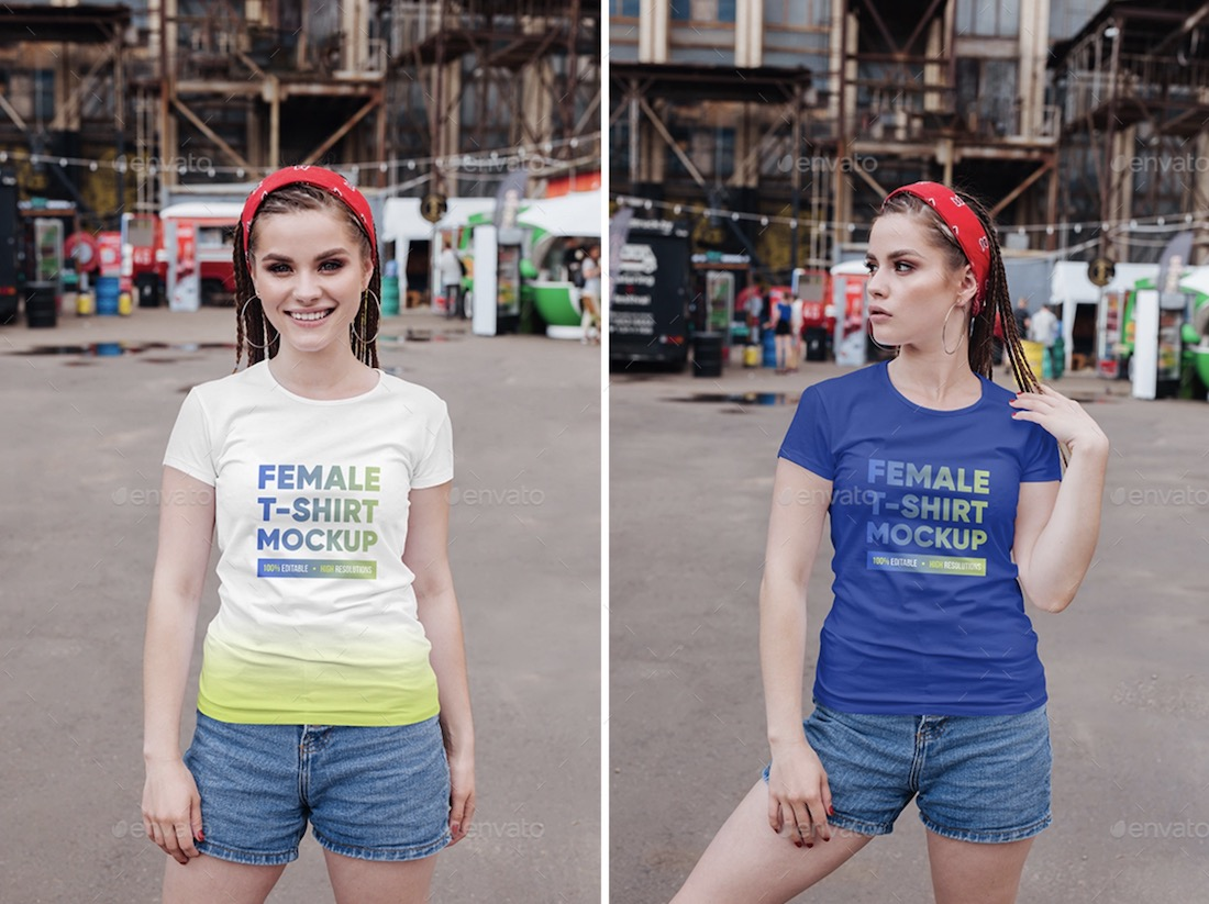 female t-shirt in city mockups