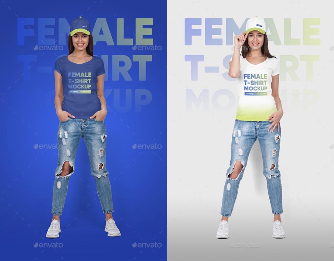 female tshirt and baseball cap mockup