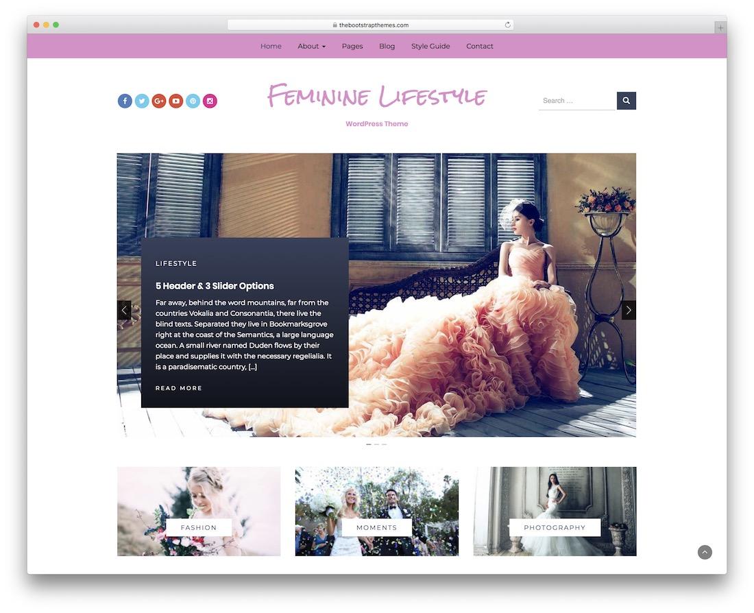 feminine lifestyle free wordpress theme