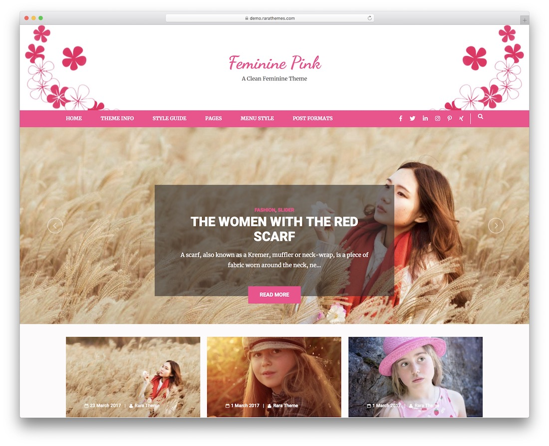 feminine pink free wordpress theme
