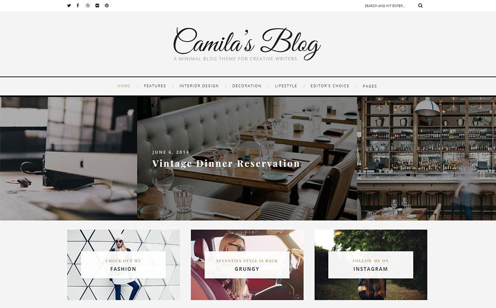 Camila - Minimal Blog WordPress Theme