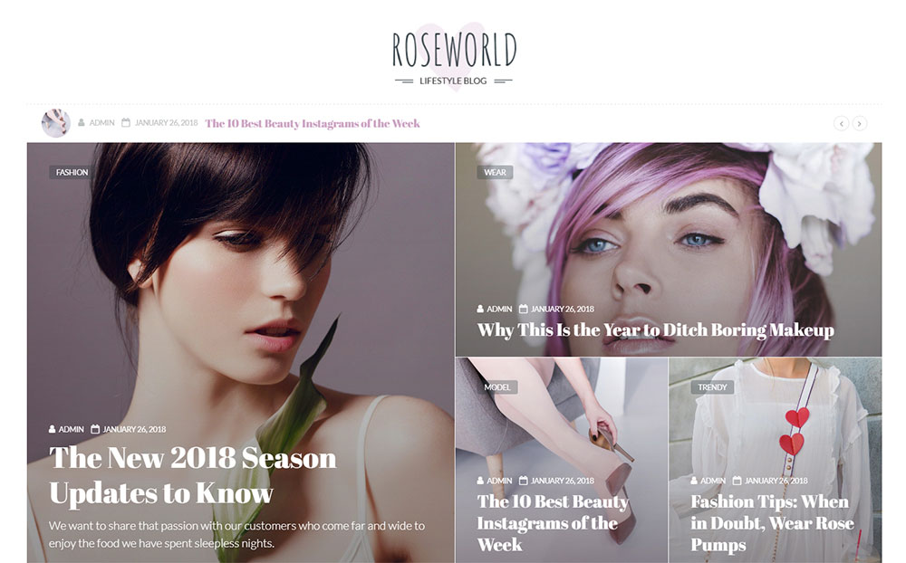 Roseworld - Lifestyle Blog WordPress Theme